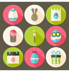 Easter flat styled circle icon set 3 with long vector image