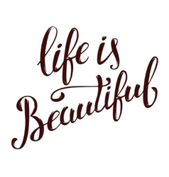 life is beautiful Hand drawn lettering isolated vector image vector image