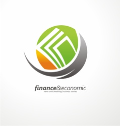Logo design with money in negative space vector image vector image