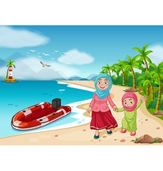 Muslim family on the beach vector image