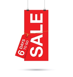 six days to go sale sign vector image vector image