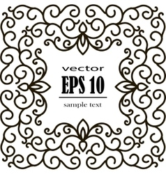 square frame of floral pattern black on white vector image vector image