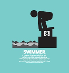 Swimmer At Starting Block Symbol vector image vector image