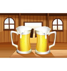 A table with two mugs of beer vector image vector image