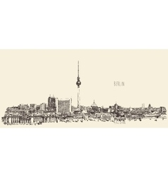 Berlin Skyline Silhouette Engrave Hand Draw vector image