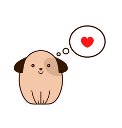 dog with heart in thought cloud vector image vector image