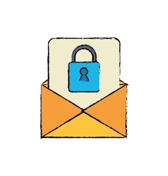 drawing email message security system technology vector image