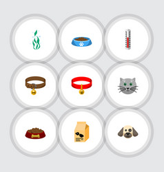 flat icon pets set of kitty collar cat eatin vector image vector image