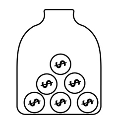 Money piggy bank icon outline style vector image