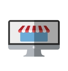 online shopping computer mobile marketing color vector image
