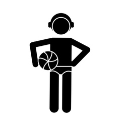 silhouette male water polo player ball cap vector image