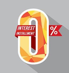 Zero Percent Interest Installment vector image