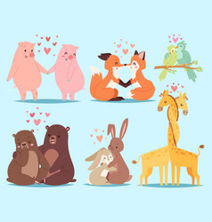 animals couple in love valentines day holiday vector image