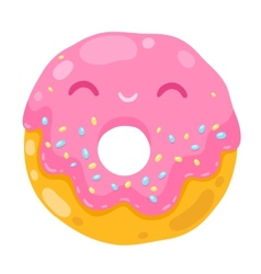 cute smiling donut cartoon food vector image vector image