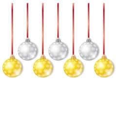 Gold and Silver Christmas Balls vector image