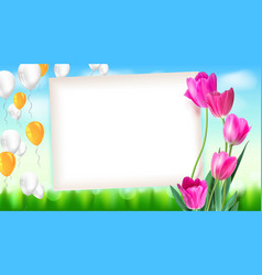 greeting card with tulips around the sheet of vector image