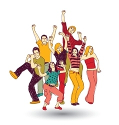 Group happy young people color isolate on white vector image