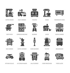 kitchen small appliances flat glyph icons vector image