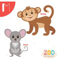 Letter M Cute animals Funny cartoon animals in vector image
