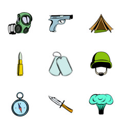 martial icons set cartoon style vector image vector image