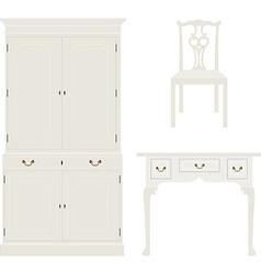 Vintage white furniture vector image vector image