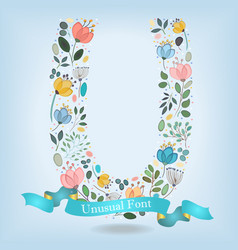 floral letter u with blue ribbon vector image vector image