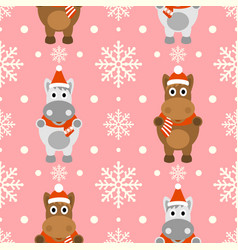 New year seamless background with funny horse vector