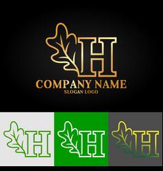 01 oak letter h vector image