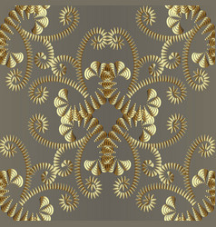 abstract gold floral 3d seamless pattern vector image