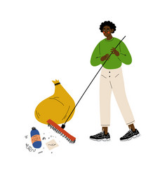african american man gathering garbage and plastic vector image