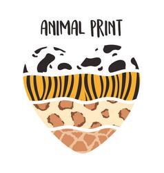 animal print pattern shaped heart hand drawn vector image
