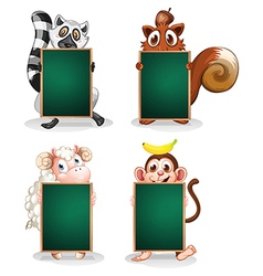 Animals holding empty boards vector