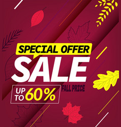 Autumn sale special offer up to sixty percent vector