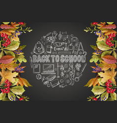 banner back to school with leaves and school vector image