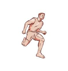 Barefoot Runner Running Marathon Etching vector image