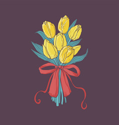 Beautiful bouquet yellow tulips tied vector