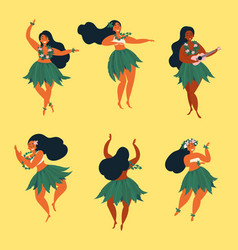Beautiful hawaiian girl dancing hula and ukulele vector
