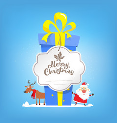 big box of new year gift merry christmas text vector image