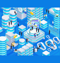 big data isometric composition vector image