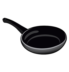 Black isolated Teflon pan for kitchen on a white vector image