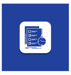 Blue round button for todo task list check time vector