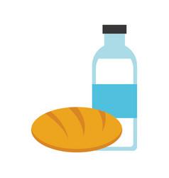 Bread and milk bottle vector
