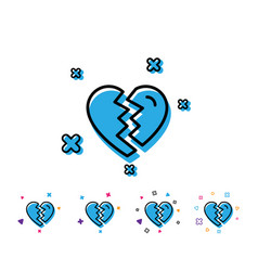 Break up love line icon divorce sign vector