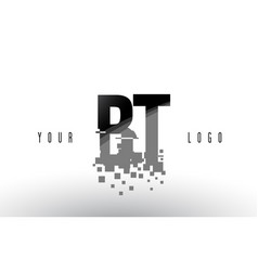 Bt b t pixel letter logo with digital shattered vector