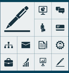 business icons set with conversation bank card vector image