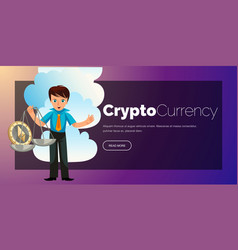 cartoon man weighs ether crypto currency poster vector image