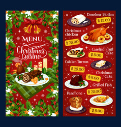 Christmas dinner cuisine restaurant menu vector