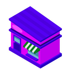 Colorful isometric shop with tilted roof vector