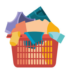 Colorful silhouette of laundry basket with heap of vector
