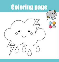 Coloring page with cute cloud character vector